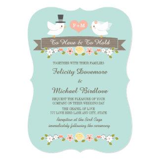 Invitación del boda de la paloma de los pájaros