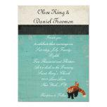 Invitación del boda de la panda roja y del búho invitación 13,9 x 19,0 cm