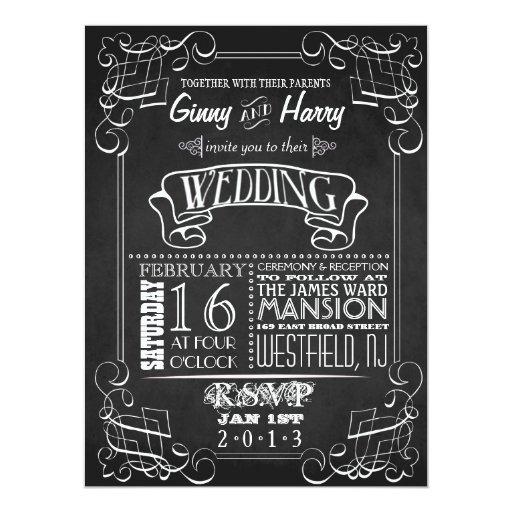 Invitación del boda de la pizarra del vintage