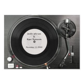 Invitación del boda de la placa giratoria de DJ