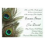 Invitación del boda de la pluma del pavo real