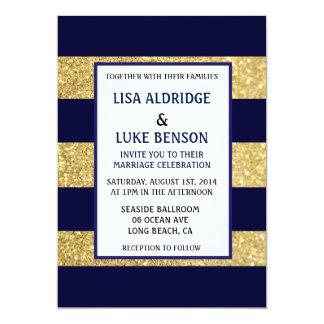 Invitación del boda de la raya del oro de la