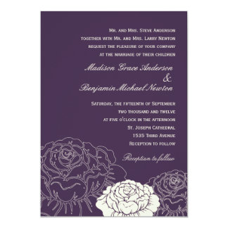 Invitación del boda de la rosaleda - púrpura invitación 12,7 x 17,8 cm