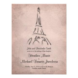 Invitación del boda de la sepia de la torre Eiffel
