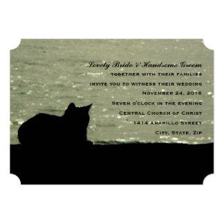 Invitación del boda de la silueta del gato del mar invitación 12,7 x 17,8 cm