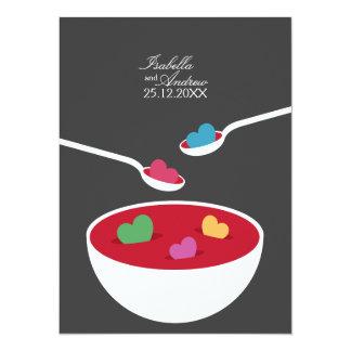 Invitación del boda de la sopa del amor