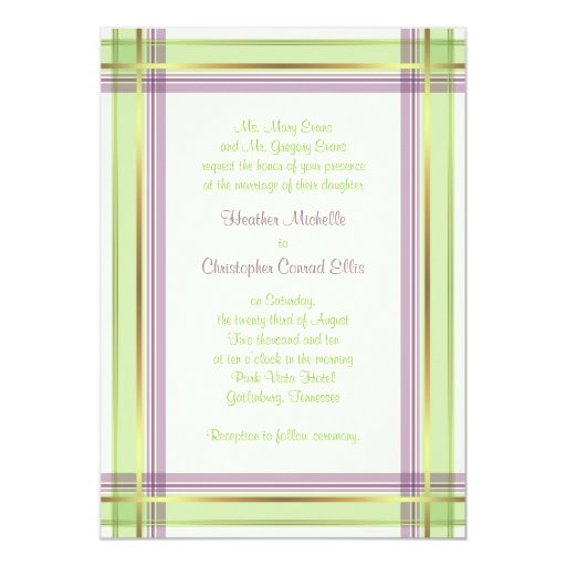 Invitación del boda de la tela escocesa de la