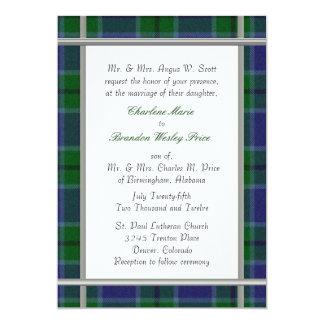Invitación del boda de la tela escocesa de tartán