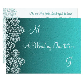 Invitación del boda de la turquesa del damasco