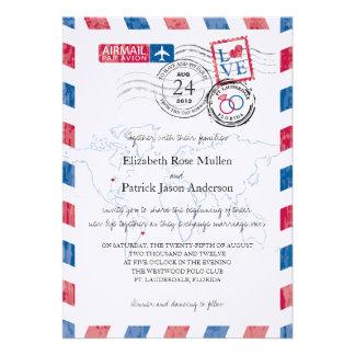 Invitación del boda de la ubicación del correo aér