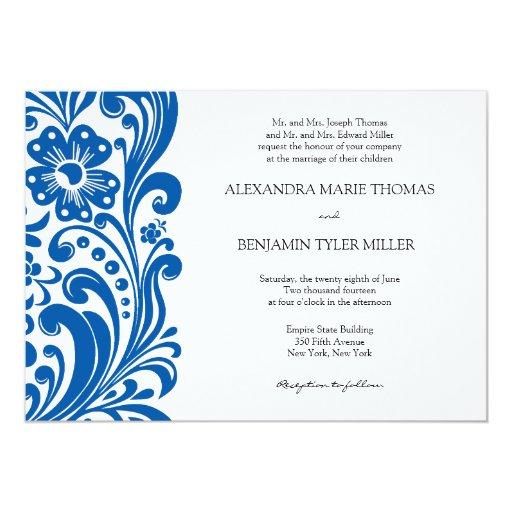 Invitación del boda de la voluta de la flor