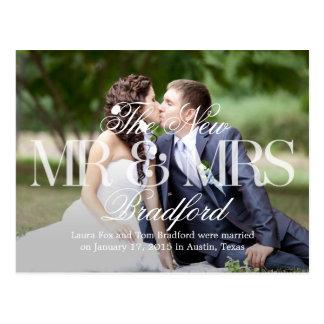 Invitación del boda de las buenas noticias - blanc tarjeta postal