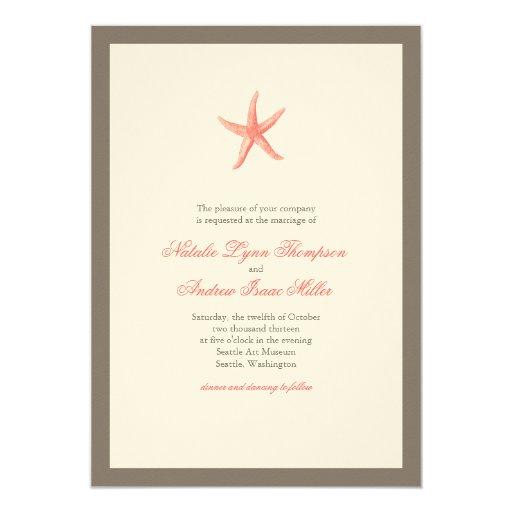 Invitación del boda de las estrellas de mar -