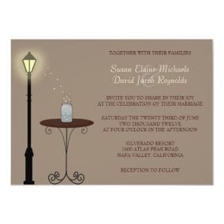 Invitación del boda de las luciérnagas y del tarro