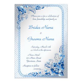 Invitación del boda de los azules marinos en la