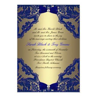 Invitación del boda de los azules marinos y del