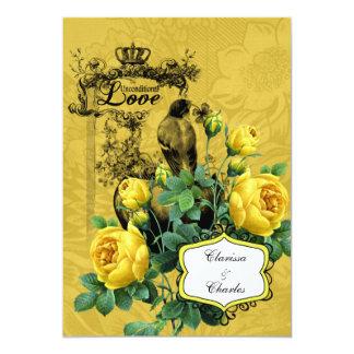 Invitación del boda de los rosas amarillos 5x7 invitación 12,7 x 17,8 cm
