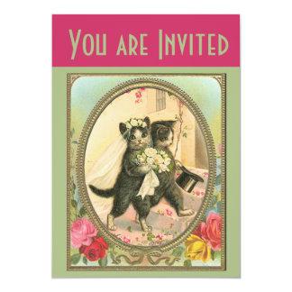 Invitación del boda de novia y del novio del gato invitación 12,7 x 17,8 cm