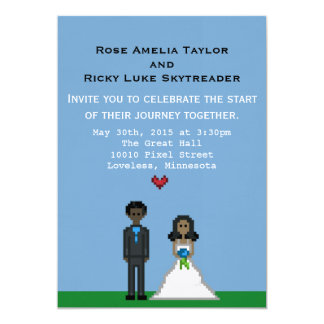 Invitación del boda de novia y del novio del pixel