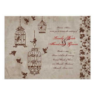 Invitación del boda de papel de los pájaros del br