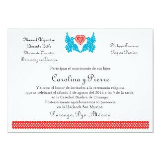 """Invitación del boda de Papel Picado de los pájaros Invitación 5"""" X 7"""""""