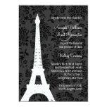 Invitación del boda de París del damasco (negro)