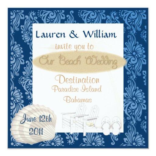 Invitación del boda de playa con damasco