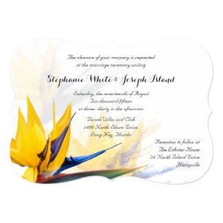 Invitación del boda de playa de la ave del paraíso