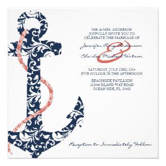 Invitación del boda de playa de la marina de guerr
