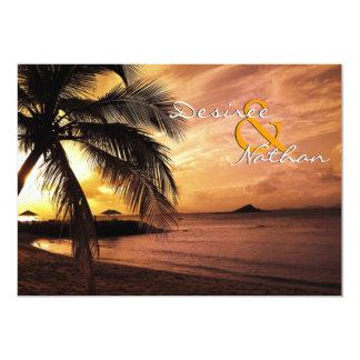 Invitación del boda de playa de la puesta del sol invitación 12,7 x 17,8 cm