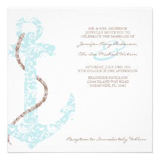 Invitación del boda de playa del ancla del trullo