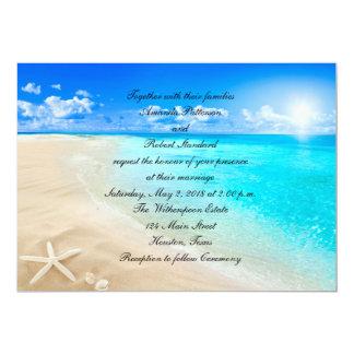 Invitación del boda de playa del destino de las