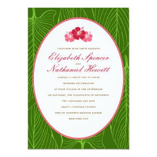 Invitación del boda de Tropicana en rojo y verde Invitación 12,7 X 17,8 Cm