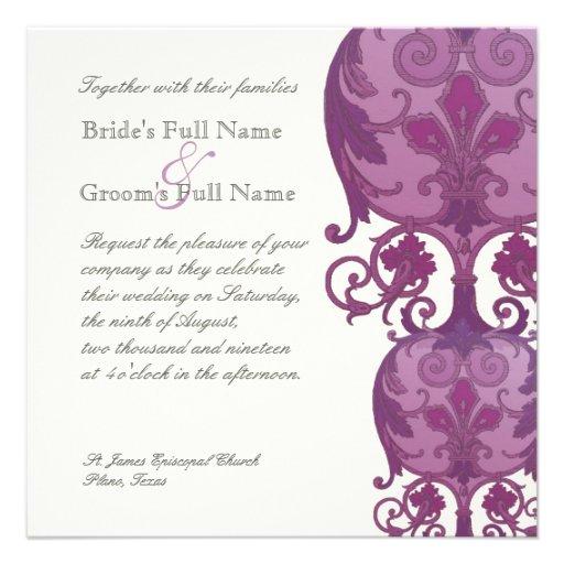 Invitación del boda de Victoria - púrpura del ciru
