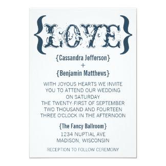 Invitación del boda del abrazo del amor, azul