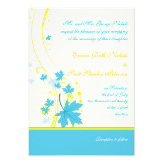Invitación del boda del amarillo de la turquesa de