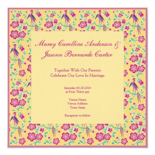 Invitación del boda del amarillo del modelo del