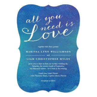 Invitación del boda del amor/azul de océano puros