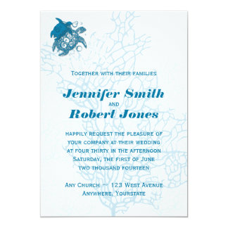 Invitación del boda del amor de la tortuga de la