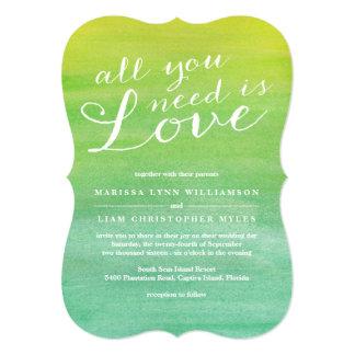 Invitación del boda del amor/esmeralda puras de la