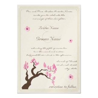 Invitación del boda del árbol de la flor de cerezo