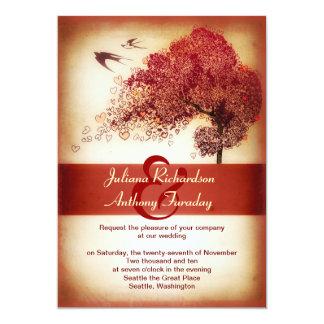 invitación del boda del árbol de los corazones del