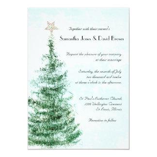 Invitación del boda del árbol de navidad