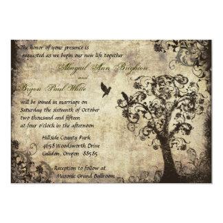 Invitación del boda del árbol del vintage con el