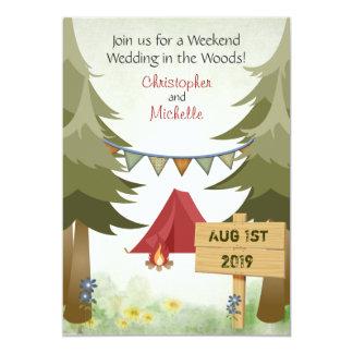 Invitación del boda del arbolado que acampa invitación 12,7 x 17,8 cm