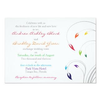 Invitación del boda del arco iris floral