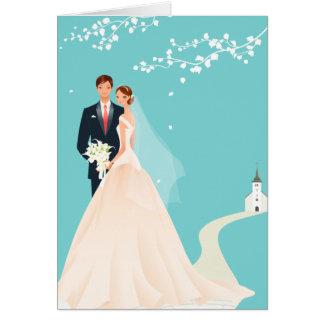 Invitación del boda del azul, de novia y del novio tarjeta pequeña