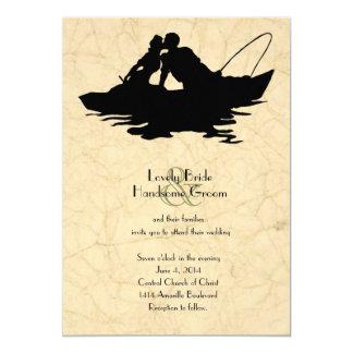 Invitación del boda del barco de los amantes de la invitación 12,7 x 17,8 cm