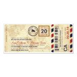 Invitación del boda del boleto del documento de invitación 10,1 x 23,5 cm