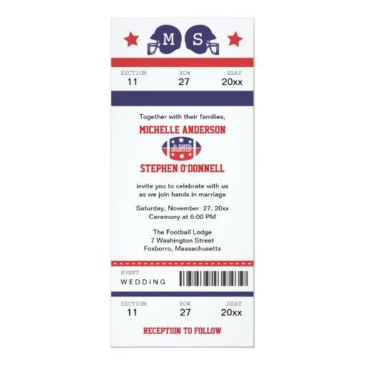 Invitación del boda del boleto del fútbol invitación 10,1 x 23,5 cm